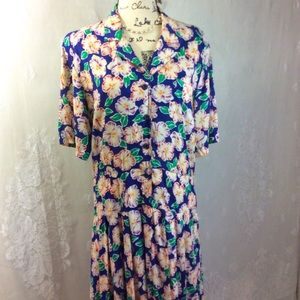 Vintage Liz Claiborne Blue Hibiscus Midi Dress 10